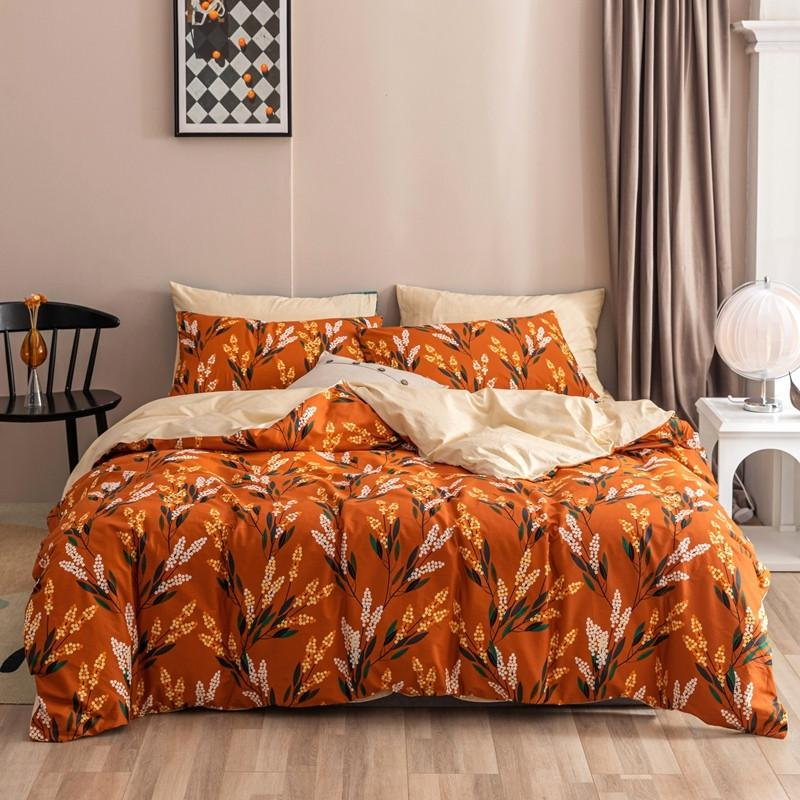 Maria Contemporary Botanical Printed 100% Cotton Duvet Cover Set - Venetto DesignColor 7 / Queen size 4Pcs