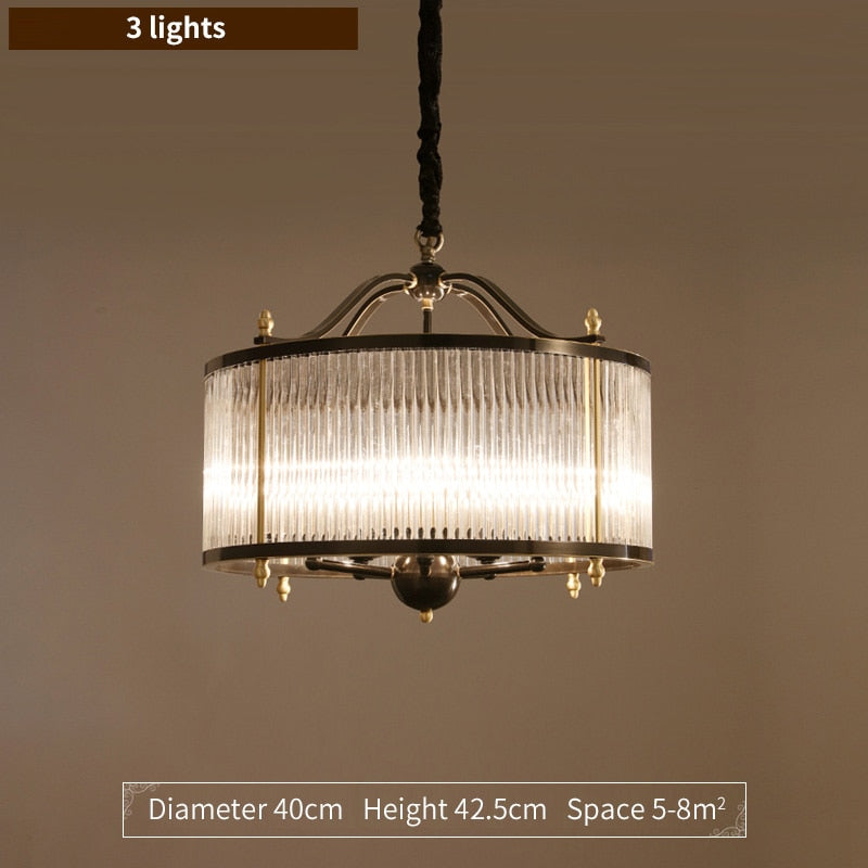 Lillian Fluted Glass And Metal Drum Chandelier - Venetto DesignDia 40cm / Cold light