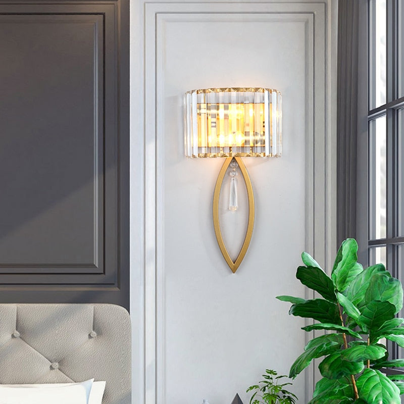 Isla Oval Cut Fluted Glass Wall Lamp - Venetto Design