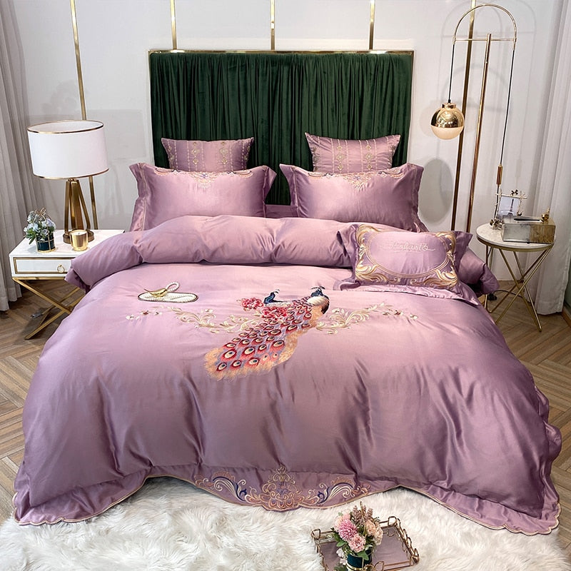 Phoebe Peacock Embroidered Satin And Cotton Duvet Cover Set - Venetto DesignColor 8 / Bed Sheet Style / Queen Size 4pcs