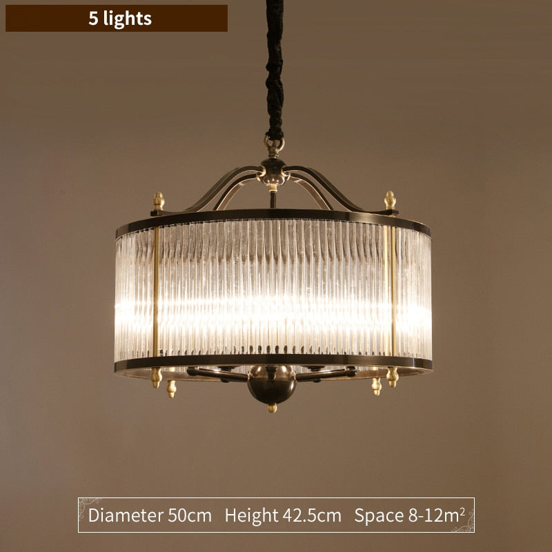 Lillian Fluted Glass And Metal Drum Chandelier - Venetto DesignDia 50cm / Cold light