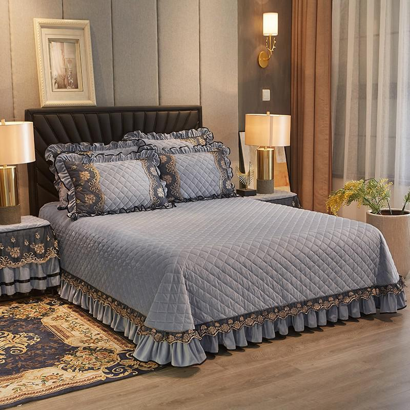 Faith Ruffled Edged Quilted Fleece Bedspread Set - Venetto Designcolor 4 / 250cmX250cm 3pcs