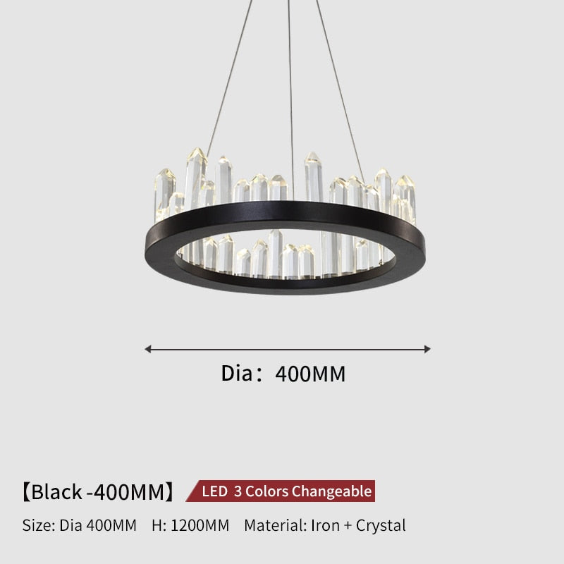 Giovanni 3D-Crystal Edge Metal Ring Chandelier - Venetto DesignDia40cm-Black / 3 Colors Changeable