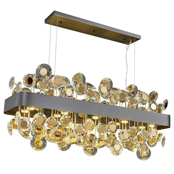 Reese Disc Detailed Crystal And Metal Bar Chandelier - Venetto DesignBlack / L90XW32XH40cm / Warm light 3000K