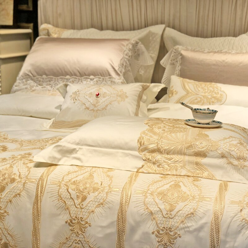 Joyana Egyptian Cotton Golden Lace Duvet Cover Set - Venetto Design
