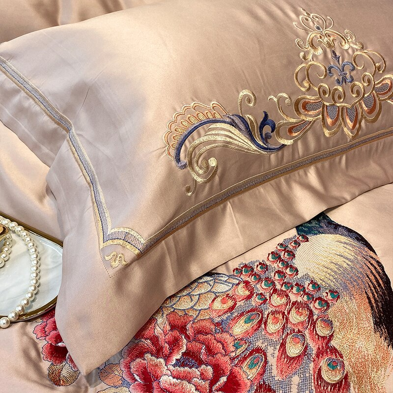 Phoebe Peacock Embroidered Satin And Cotton Duvet Cover Set - Venetto Design