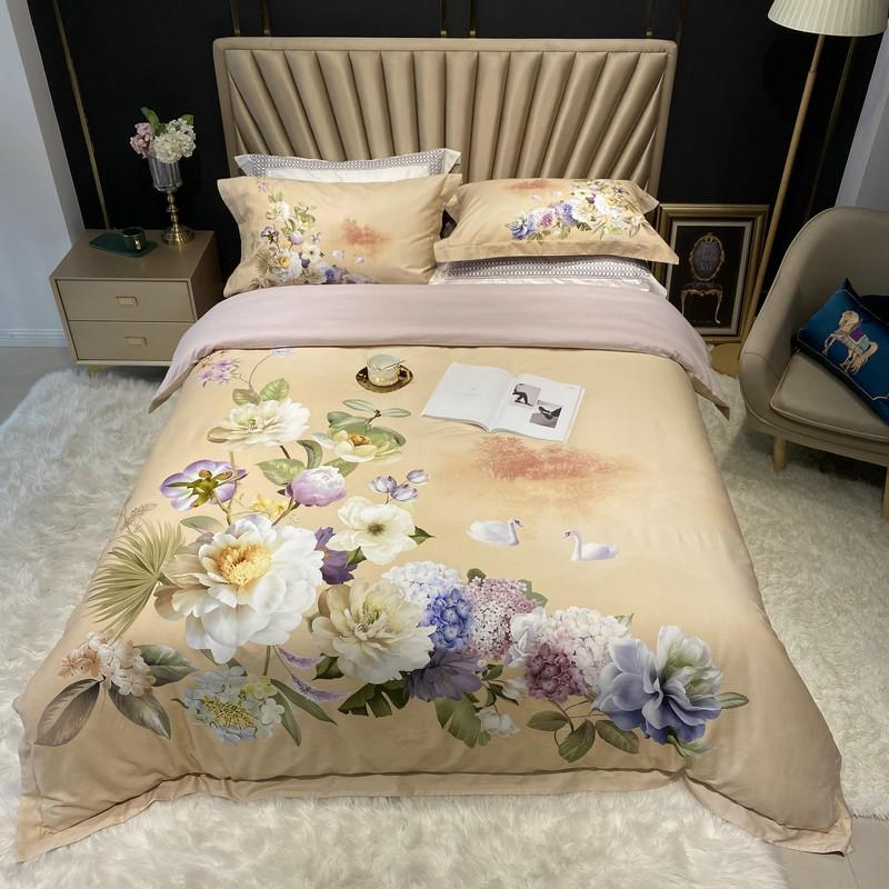 Jennifer Vintage Bouquet Printed Egyptian Cotton Duvet Cover Set - Venetto DesignColor 11 / Queen size 4Pcs