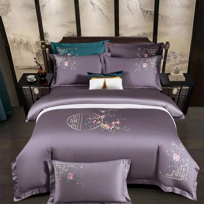 Priscilla Floral Embroidered Egyptian Cotton Duvet Cover Set - Venetto DesignColor 5 / Flat Bed Sheet / Queen size 4Pcs