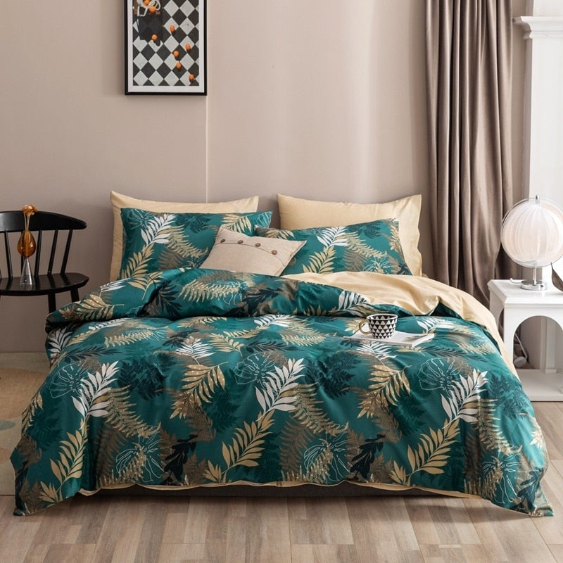 Maria Contemporary Botanical Printed 100% Cotton Duvet Cover Set - Venetto Design