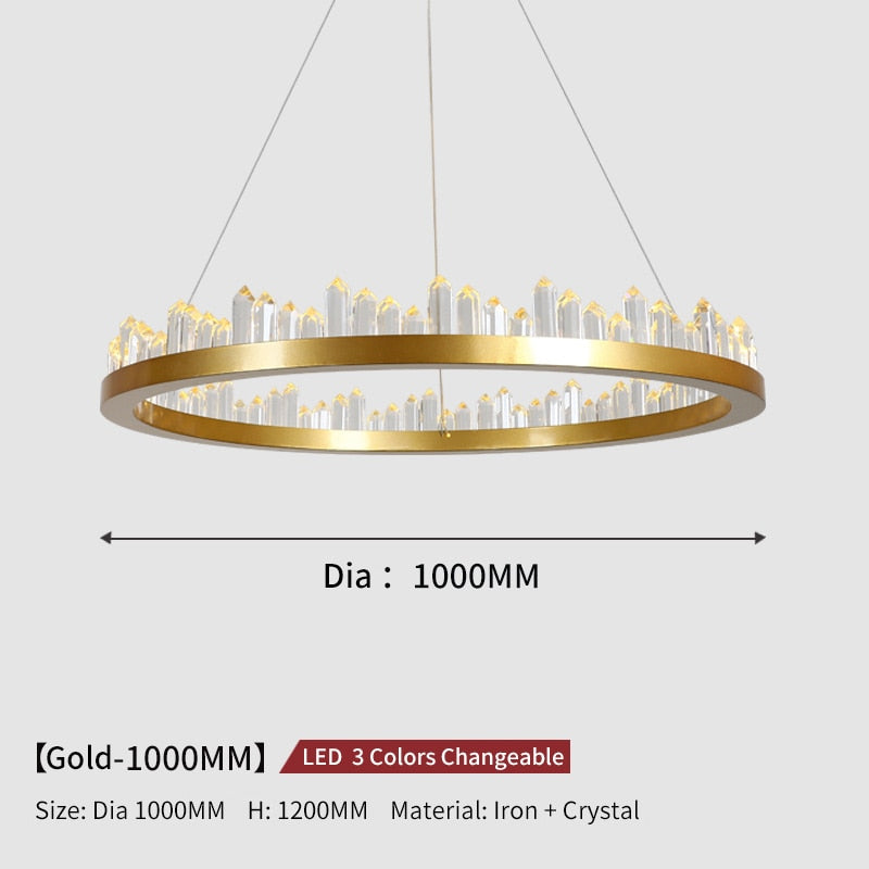 Giovanni 3D-Crystal Edge Metal Ring Chandelier - Venetto DesignDia100cm-Gold / 3 Colors Changeable