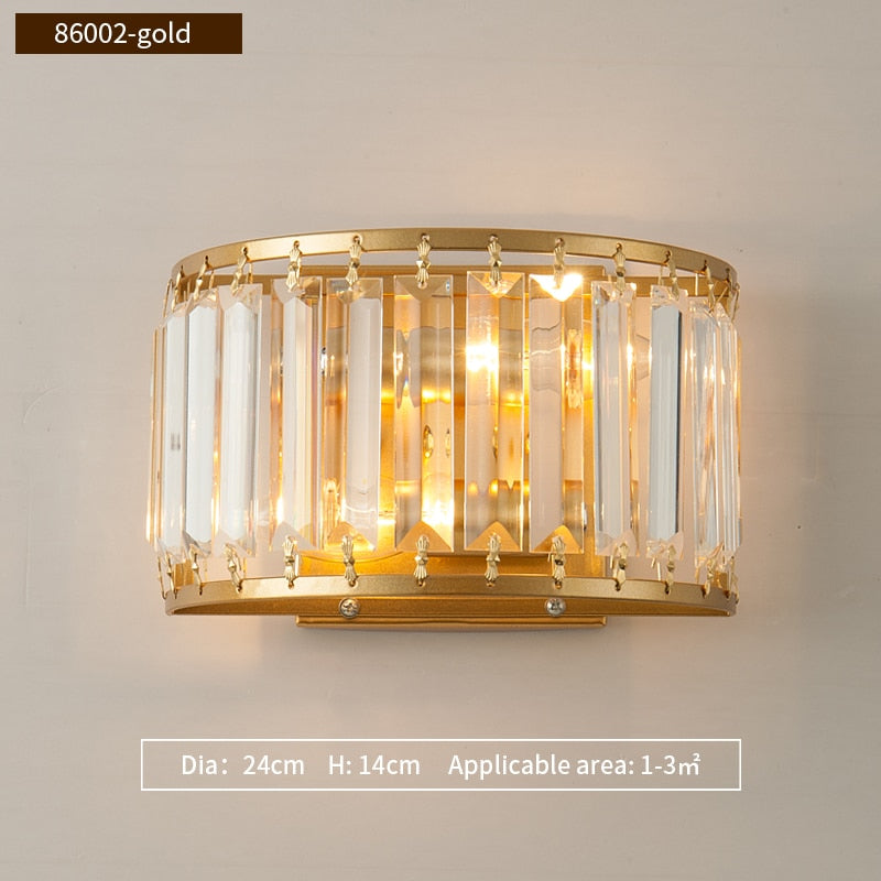 Isabella Beveled Crystal Half-Drum Wall Lamp - Venetto DesignDia24cm H14cm-Gold / Warm White (2700-3500K)