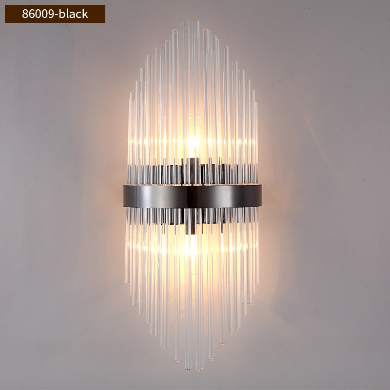 Diana Tapered Crystal And Gold Ring Wall Lamp - Venetto Design86009-Black / Warm White (2700-3500K) / Dia22cm H54cm