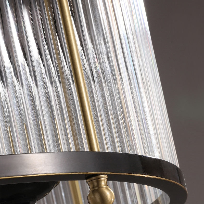 Lillian Fluted Glass And Metal Drum Chandelier - Venetto Design
