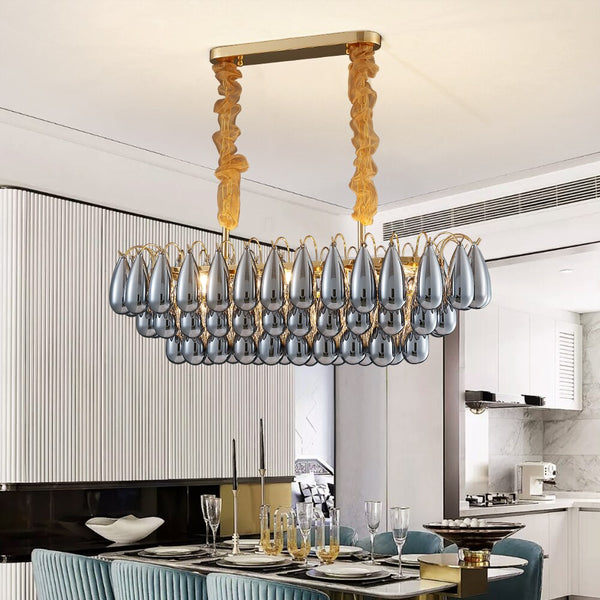 Amanda TearDrop Tiered Smokey Glass Bar Chandelier - Venetto Design