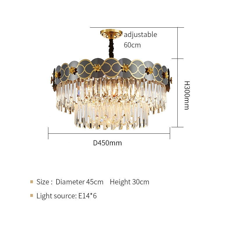 Pietro 3D-Floral Scalloped Edge Two-Tier Crystal Chandelier - Venetto DesignDia45cm H30cm / Warm light