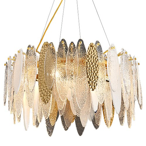 Leslie Frosted Textured Teardrop Glass Ring Chandelier - Venetto Designcolor-3 / Dia60cm / warm light 3000K