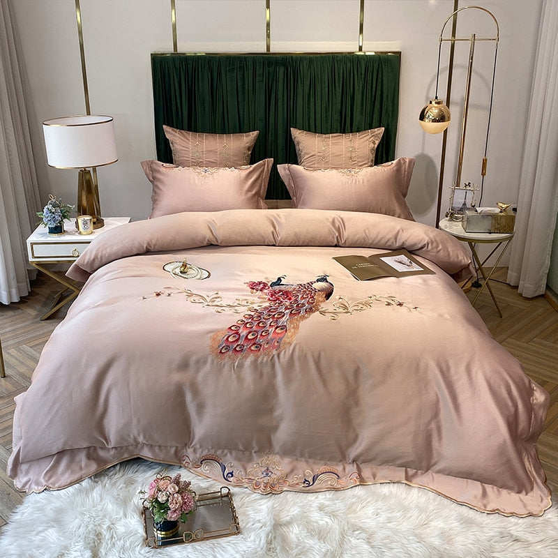 Phoebe Peacock Embroidered Satin And Cotton Duvet Cover Set - Venetto DesignColor 7 / Bed Sheet Style / Queen Size 4pcs
