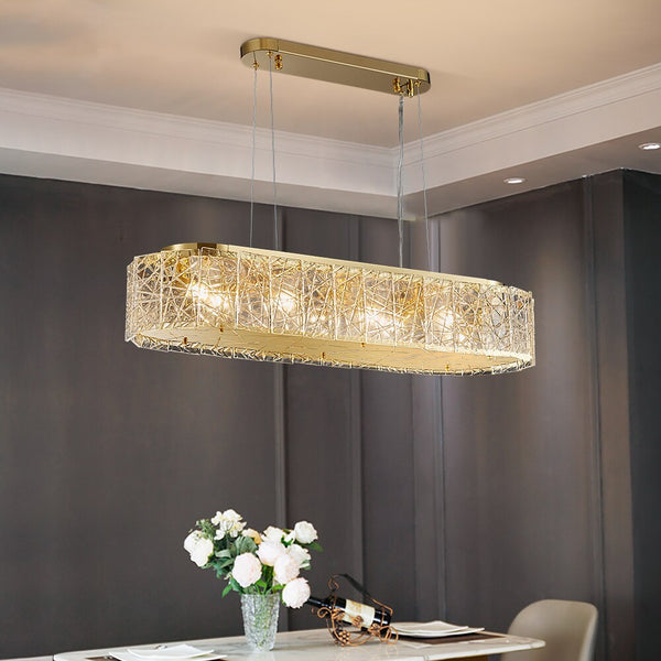 Leslie Modern Textured Frosted Glass And Copper Bar Chandelier - Venetto Design