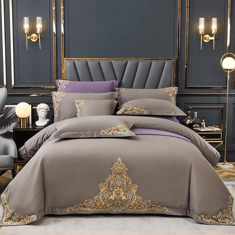 Mariana Centered Embroidered Motif 100% Cotton Duvet Cover Set - Venetto Design2 / Queen size 4Pcs