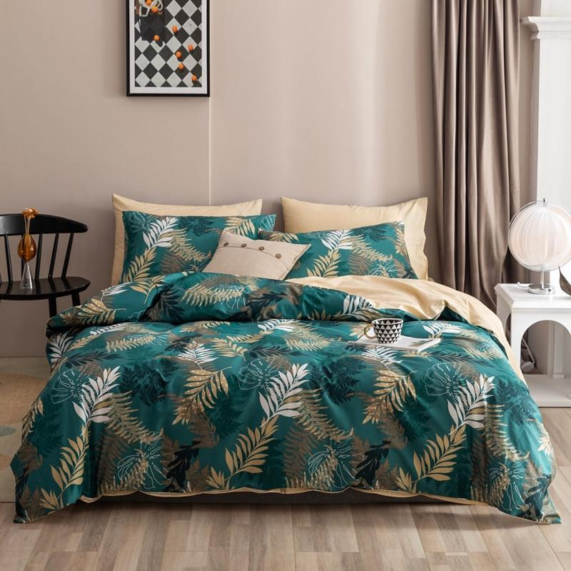 Maria Contemporary Botanical Printed 100% Cotton Duvet Cover Set - Venetto DesignColor 4 / Queen size 4Pcs