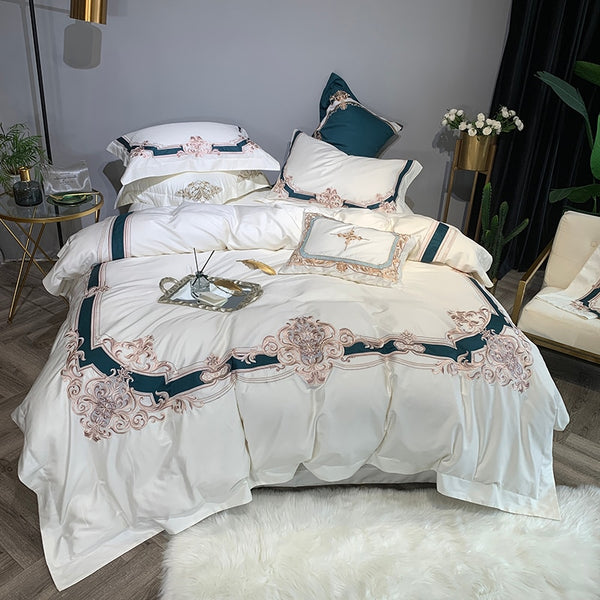 Tabassum Embroidered And Printed Border Egyptian Cotton Duvet Cover Set - Venetto Design