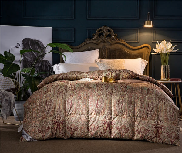 Murad Paisley Double Sided Cotton 100% Goose Down Comforter - Venetto Design