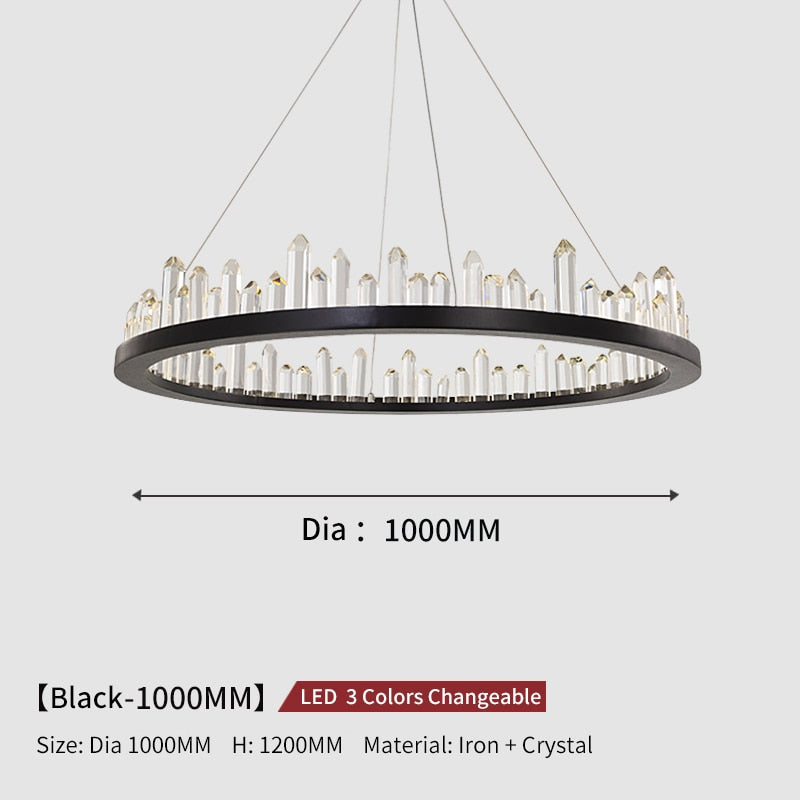Giovanni 3D-Crystal Edge Metal Ring Chandelier - Venetto DesignDia100cm-Black / 3 Colors Changeable