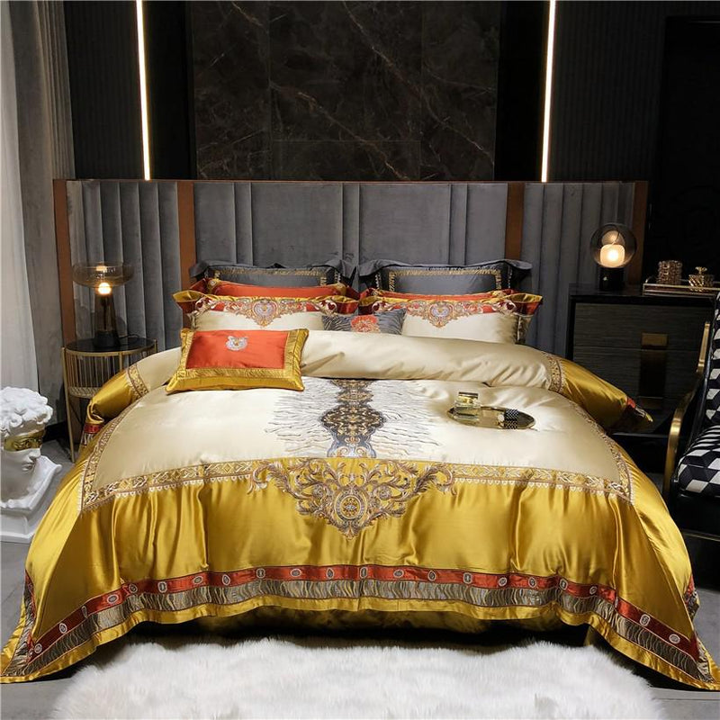 Daniella Damask Embroidered Satin Egyptian Cotton Duvet Cover Set - Venetto DesignColor 2 / Queen size 4Pcs
