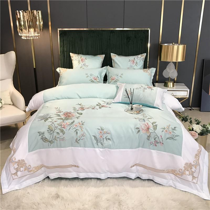 Izabella Floral Embroidered Border Satin And Cotton Duvet Cover Set - Venetto DesignColor 5 / Flat Bed Sheet / Queen size 4Pcs