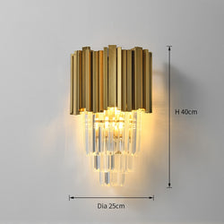 Rosalie Ridged Metal And Crystal Wall Lamp - Venetto DesignDia25xH40cm / Warm White (2700-3500K)