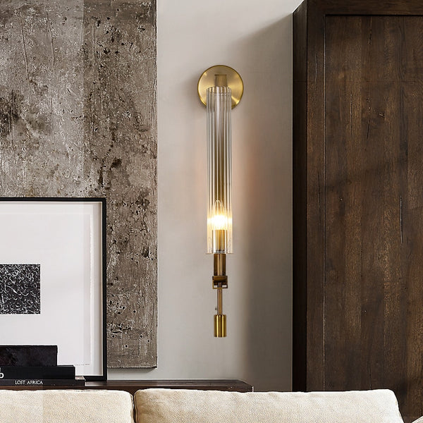 Serenity Fluted Crystal And Metal Cylinder Wall Lamp - Venetto Design