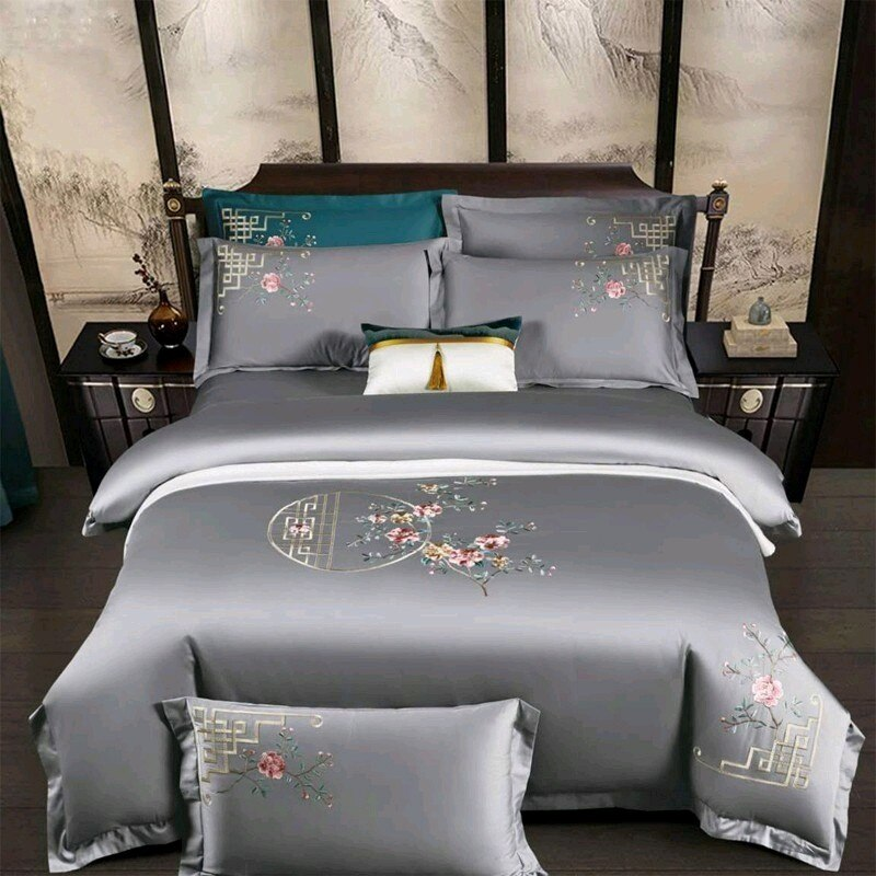 Priscilla Floral Embroidered Egyptian Cotton Duvet Cover Set - Venetto Design