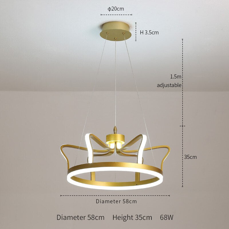 Arianna Minimalist 3D-Crown Copper Ring Chandelier - Venetto DesignDia 58cm / Warm light