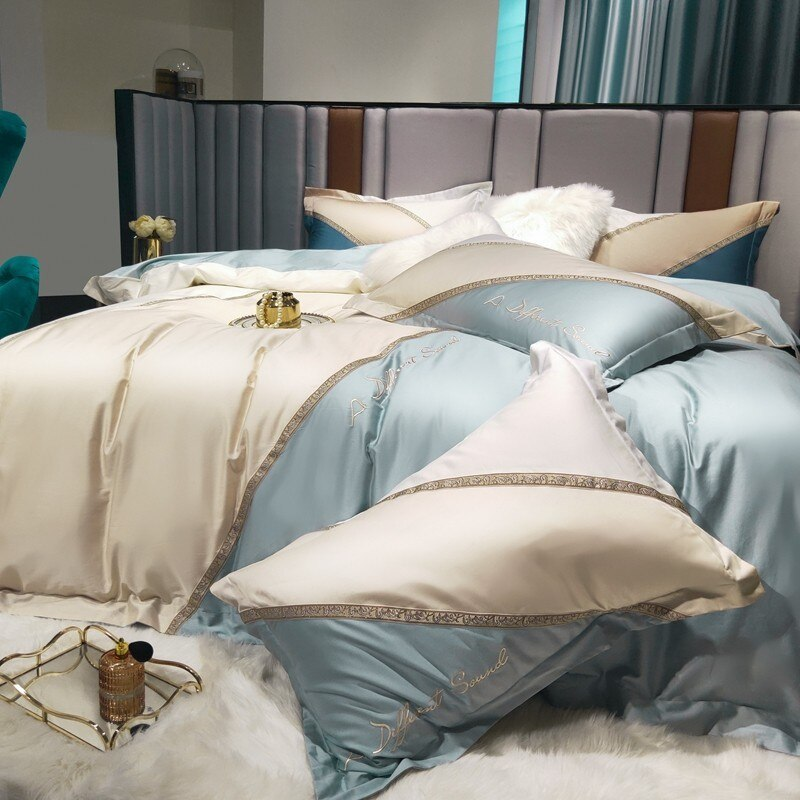 Iris ColorBlock Embroidered Patch Egyptian Cotton Duvet Cover Set - Venetto Design