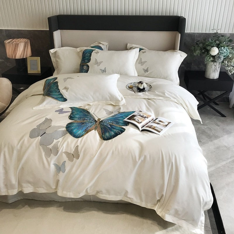 Danica Butterfly Embroidered Egyptian Cotton Duvet Cover Set - Venetto Design