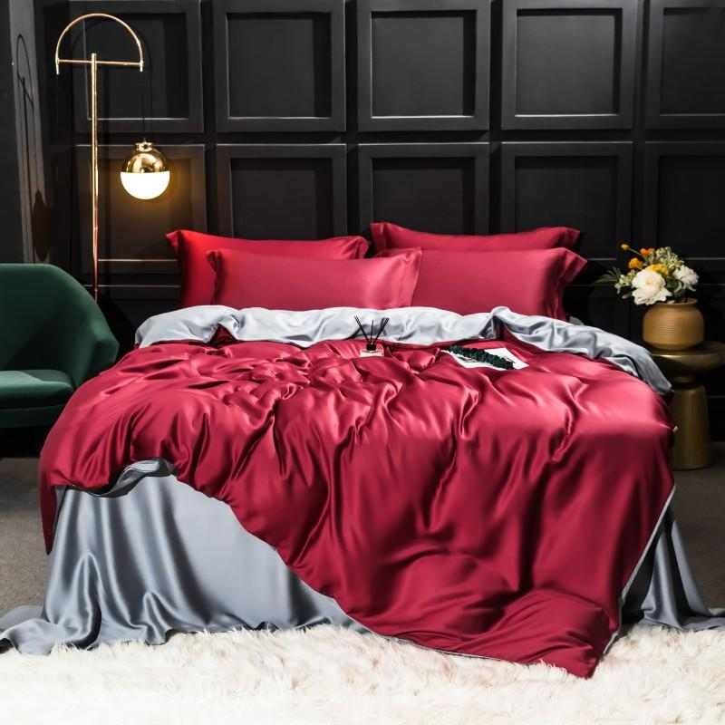 Najam Two-Tone 100% Lyocell Tencel Duvet Cover Set - Venetto Design005 / King 4pcs