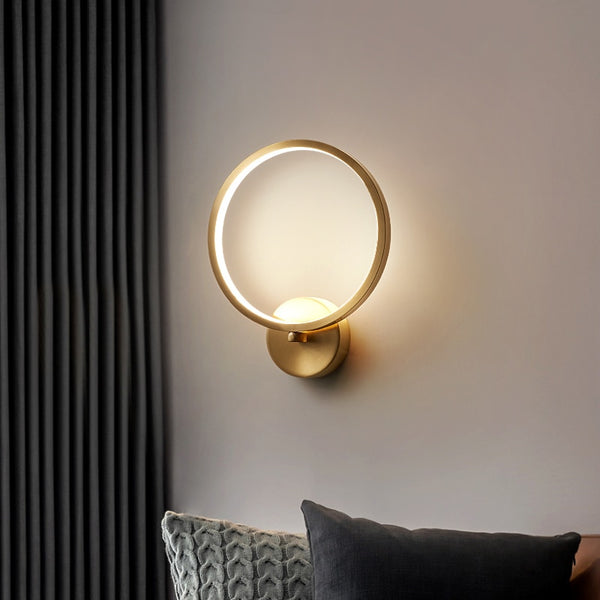 Dakota Minimalist Monochromatic Ring Wall Lamp - Venetto Design