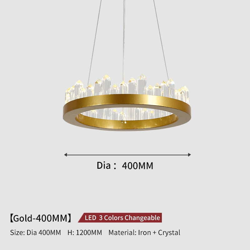 Giovanni 3D-Crystal Edge Metal Ring Chandelier - Venetto DesignDia40cm-Gold / 3 Colors Changeable