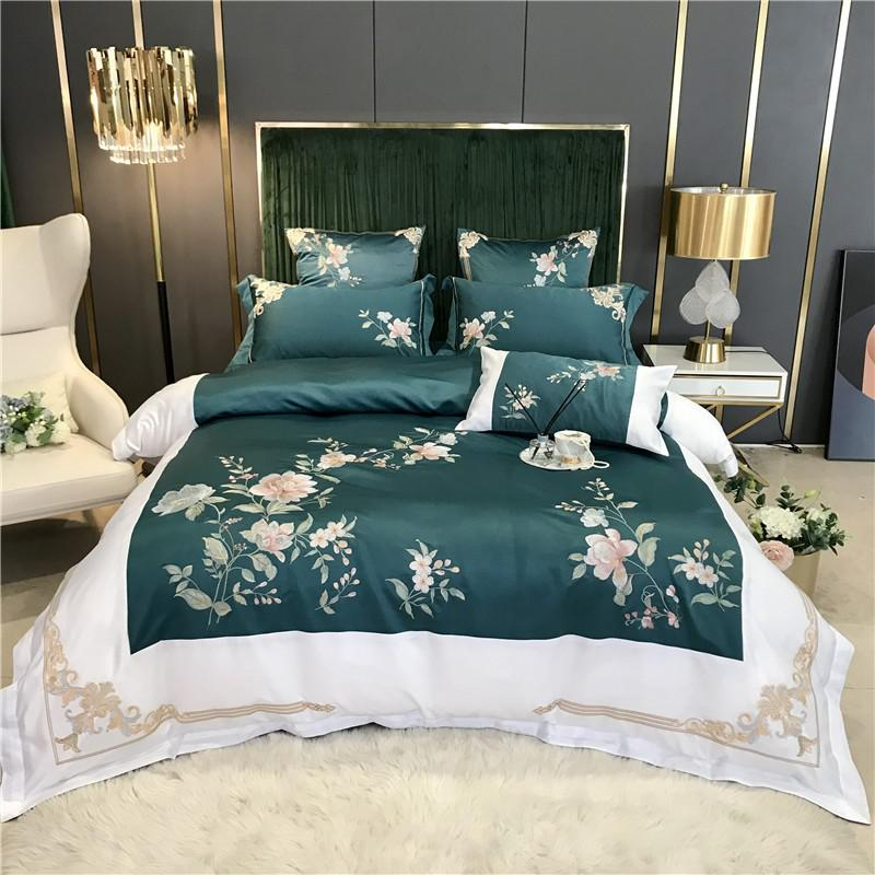 Izabella Floral Embroidered Border Satin And Cotton Duvet Cover Set - Venetto DesignColor 4 / Flat Bed Sheet / Queen size 4Pcs