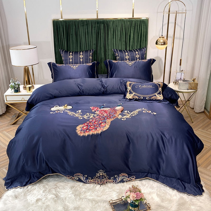 Phoebe Peacock Embroidered Satin And Cotton Duvet Cover Set - Venetto DesignColor 3 / Bed Sheet Style / Queen Size 4pcs