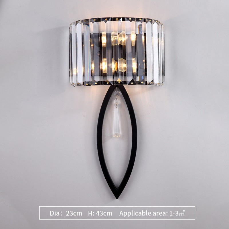 Isla Oval Cut Fluted Glass Wall Lamp - Venetto DesignDia23cm H43cm-Black / Warm White (2700-3500K)