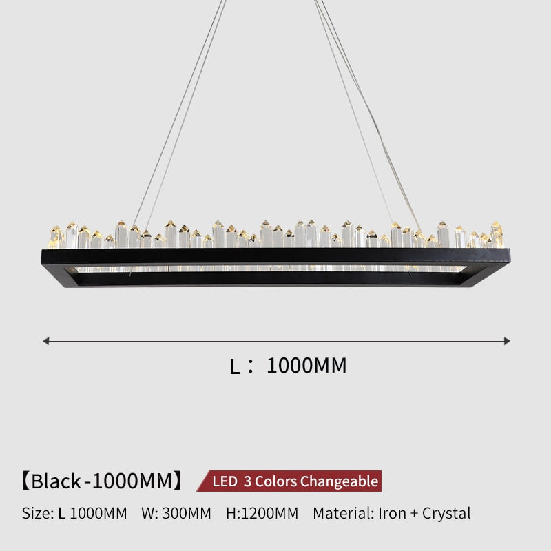 Giovanni 3D-Crystal Edge Metal Ring Chandelier - Venetto DesignL100cm W30cm - Black / 3 Colors Changeable
