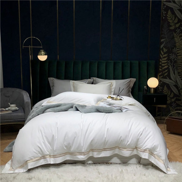 Victoria Embroidered Lined Border Egyptian Cotton Duvet Cover Set - Venetto Design
