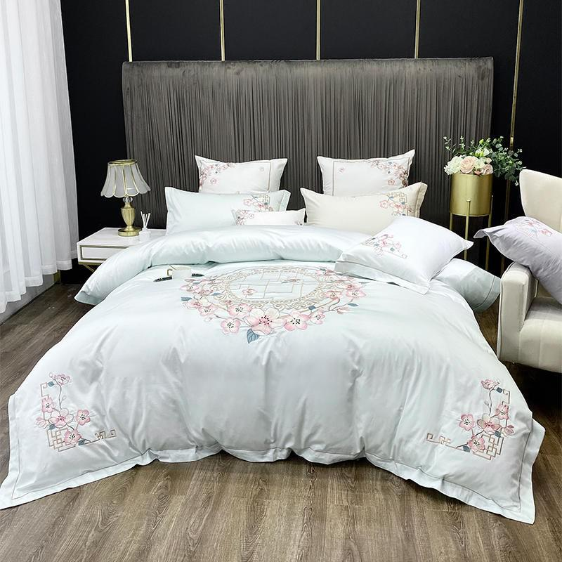 Nina Rounded Floral Motif 100% Egyptian Cotton Duvet Cover Set - Venetto DesignColor 3 / Flat Bed Sheet / Queen size 4Pcs