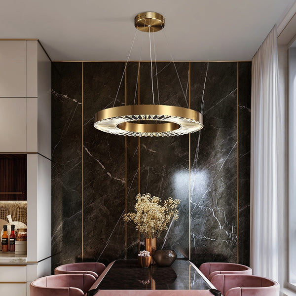 Kara Minimalist Metal And Glass Ring Chandelier - Venetto Design