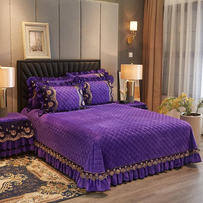 Faith Ruffled Edged Quilted Fleece Bedspread Set - Venetto Designcolor 7 / 250cmX250cm 3pcs