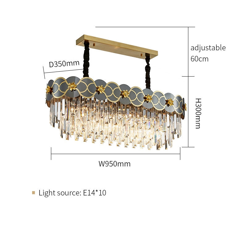 Pietro 3D-Floral Scalloped Edge Two-Tier Crystal Chandelier - Venetto DesignL95cm W35cm / Warm light
