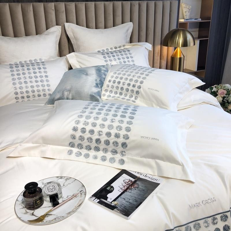 Katherine Two-Tone Embroidered Motif Egyptian Cotton Duvet Cover Set - Venetto Design