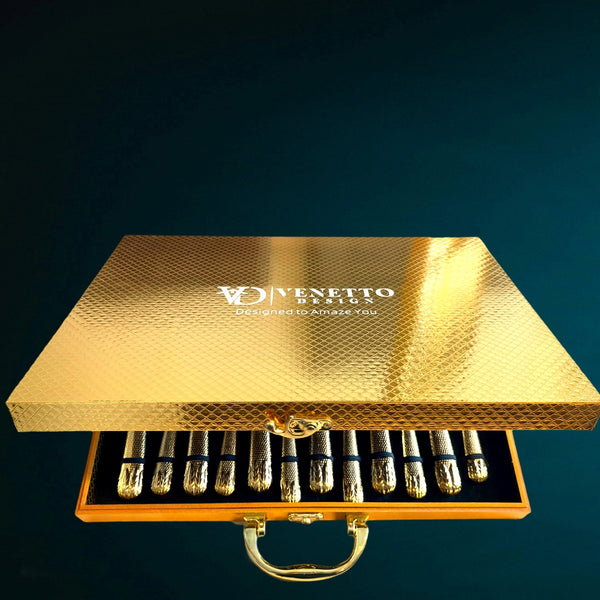 Elnoora Gold Luxury Cutlery set - Venetto Design