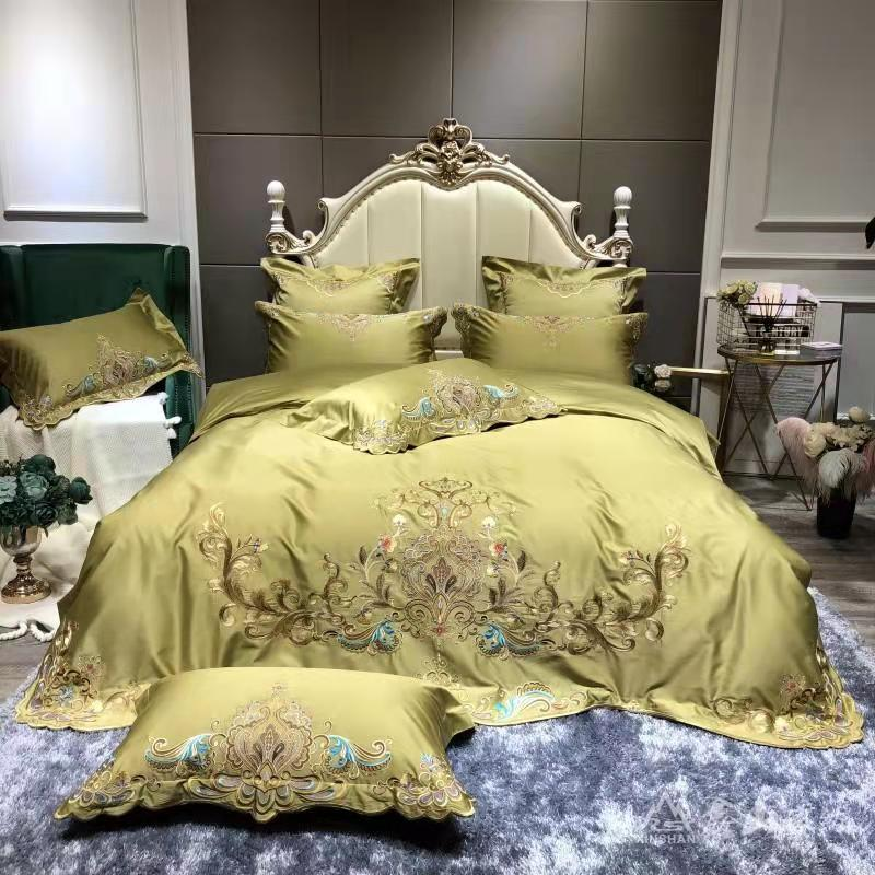 Umeyra Luxury Oriental Embroidery Egyptian Cotton Royal Duvet Cover Set - Venetto DesignColor 4 / King size 4pcs